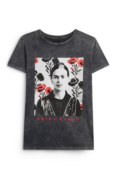 T-shirt grigia con stampa Frida Kahlo