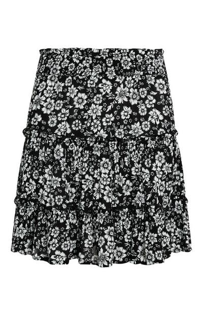 Black and White Floral Print Tiered Mini Skirt