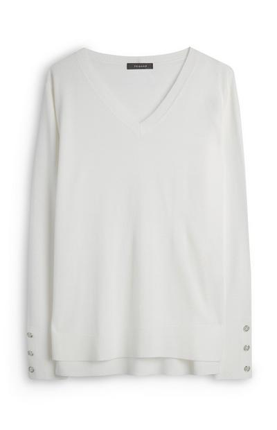 Weißes, superweiches Viskose-T-Shirt mit V-Ausschnitt
