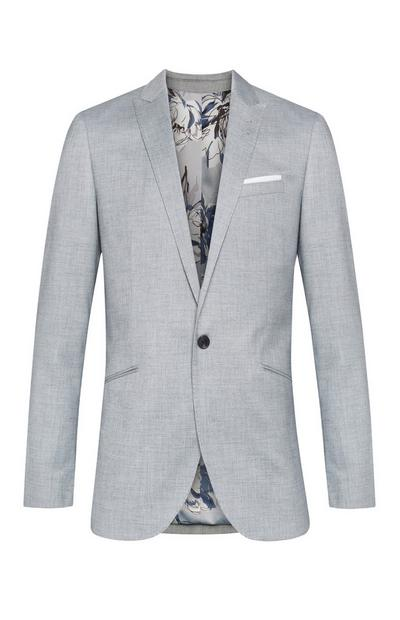 Grey Floral Lining Stretch Suit Jacket