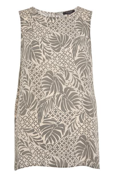 Ivory Mixed Leaf Print Sleeveless Blouse