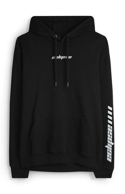 Črn pulover s kapuco in odsevnim napisom Eclipse