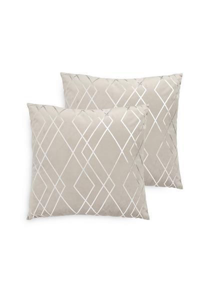 2 cuscini grigi in velluto laminati con motivo geometrico