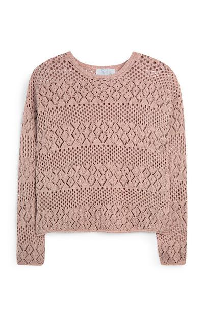 Peach Pointelle Long Sleeve Top