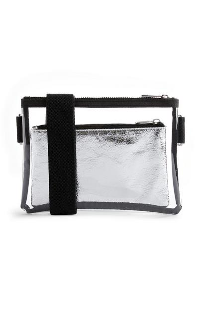 Silver And Black Clear 3-Way Bag