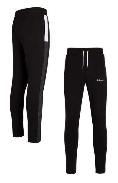 Jogging noir et blanc à empiècements latéraux