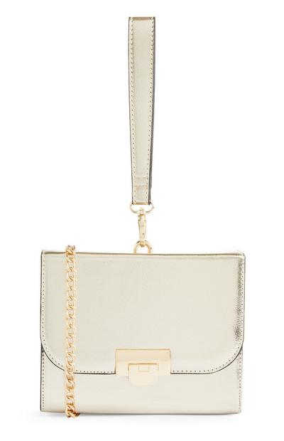 Gold Box Bag With Gold Chain
