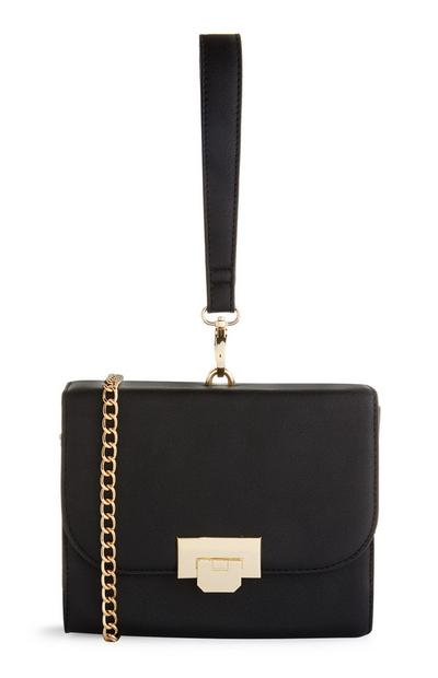 Black Box Bag With Gold Chain