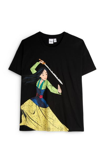 Black Mulan Print Oversized T-Shirt