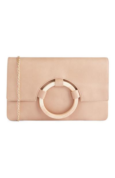 Nude Wooden Ring Clutch Bag With Chain