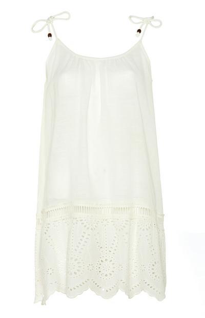 White Tie Strap Swing Dress