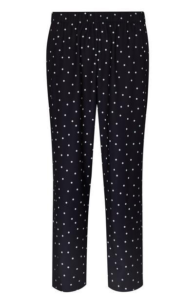 Pantalon droit en sergé noir à pois