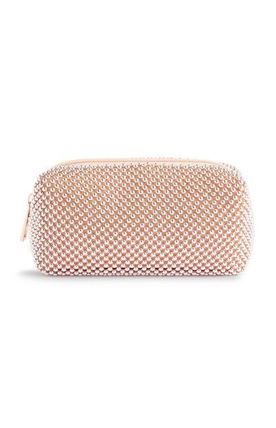 Mala clutch pérola cor-de-rosa