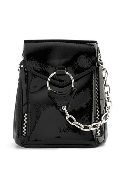 Black Patent Backpack With Chains