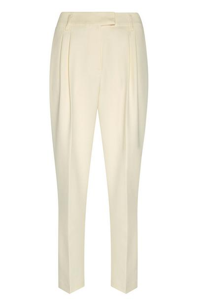 White Peg Leg Trousers