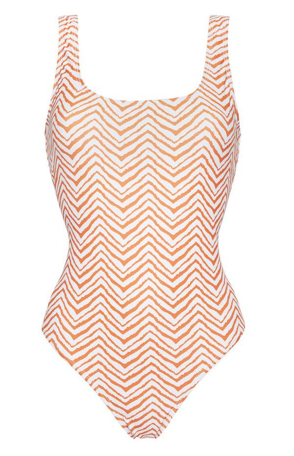 White And Orange Zig Zag Swimsuit