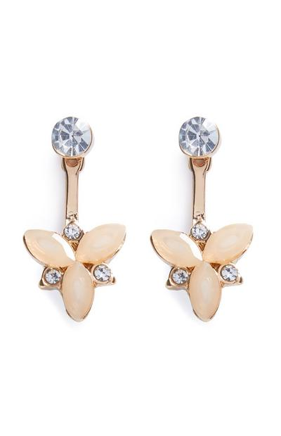 Gold And Diamante Pretty Stone Earring