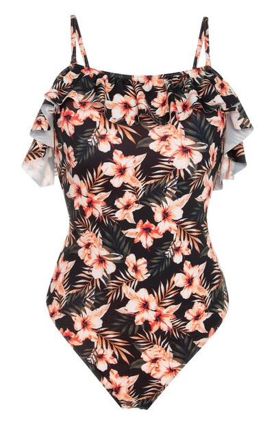 Black And Orange Floral Ruffled Bardot Swimsuit