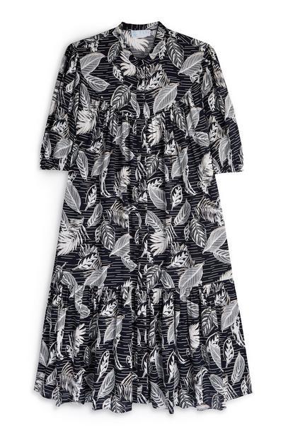 Black And White Leaf Print Midi Dress