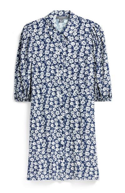 Modra mini srajčna obleka s cvetličnim vzorcem