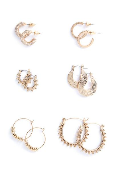 6-Pack Gold Hoop Earrings