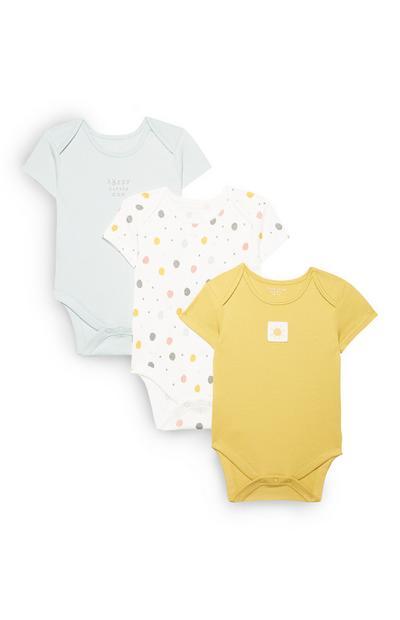 Geel en grijze babyrompers, set van 3
