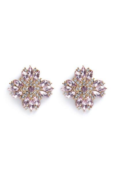 Purple Diamante Floral Stud Earrings
