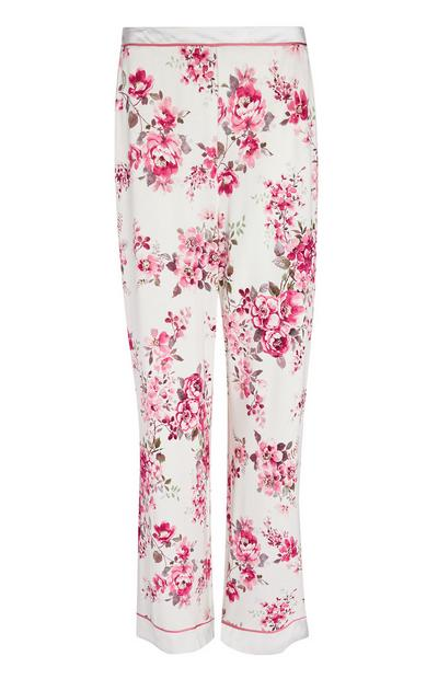 Ivory And Pink Rose Print Pajama Pants