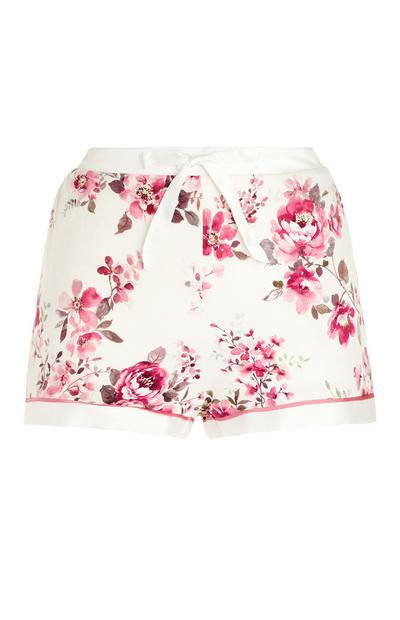Ivory And Pink Rose Print Pajama Shorts