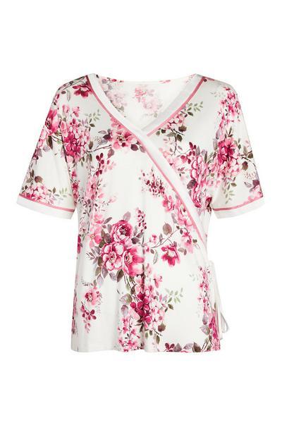 Haut de pyjama ivoire et rose à imprimé roses