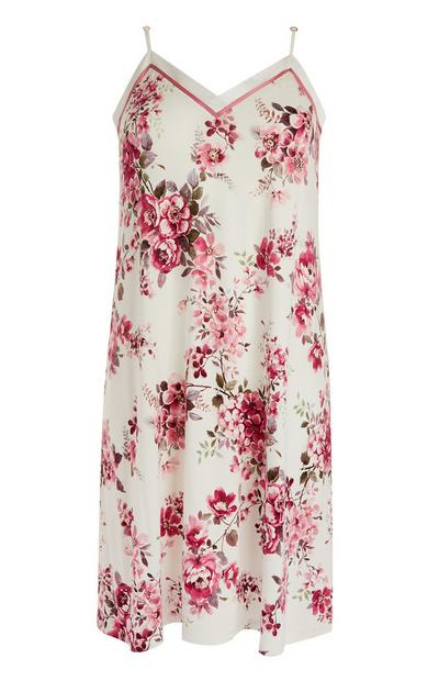 Ivory And Pink Rose Print Chemise