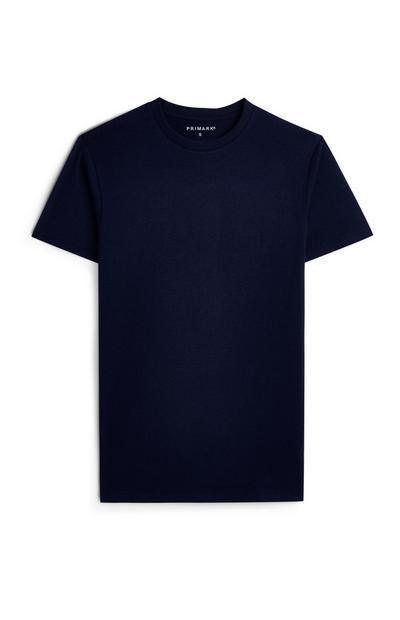 T-shirt bleu marine à manches courtes et col rond