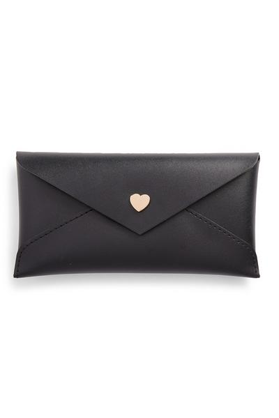 Black Heart Button Glasses Case