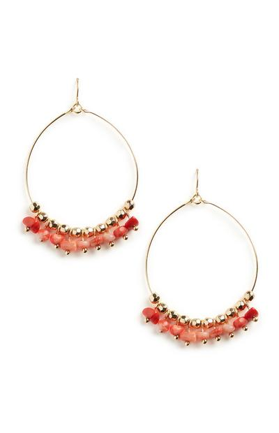 Red Beaded Circle Earrings