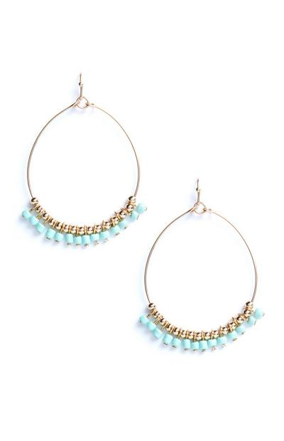 Blue Beaded Circle Drop Hoops