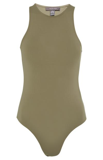 Khaki Sleeveless Racer Bodysuit