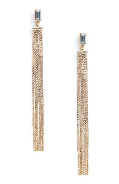 Diamante Chain Drop Earrings