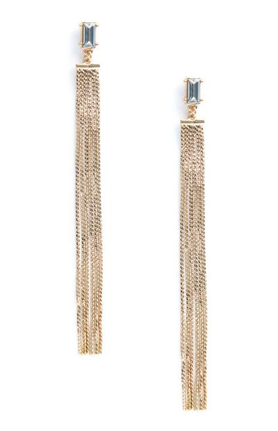Rhinestone Chain Drop Earrings