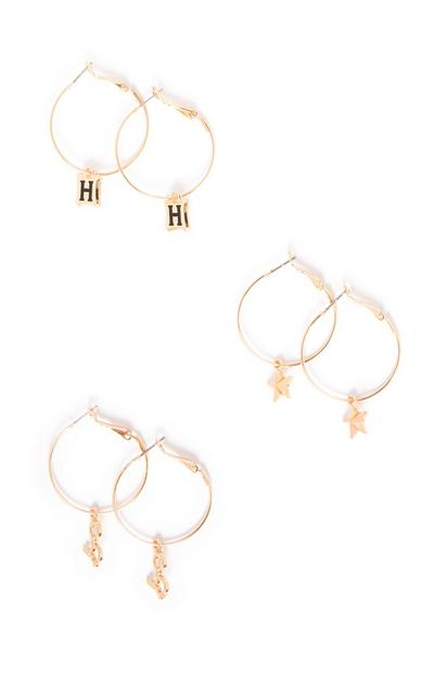 Harry Potter Charm Hoop Earrings 3Pk