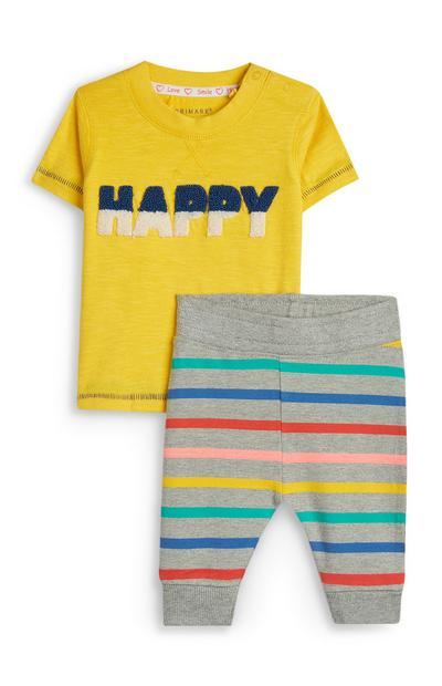 Stacey Solomon Baby Boy Yellow And Grey Striped T-Shirt And Joggers