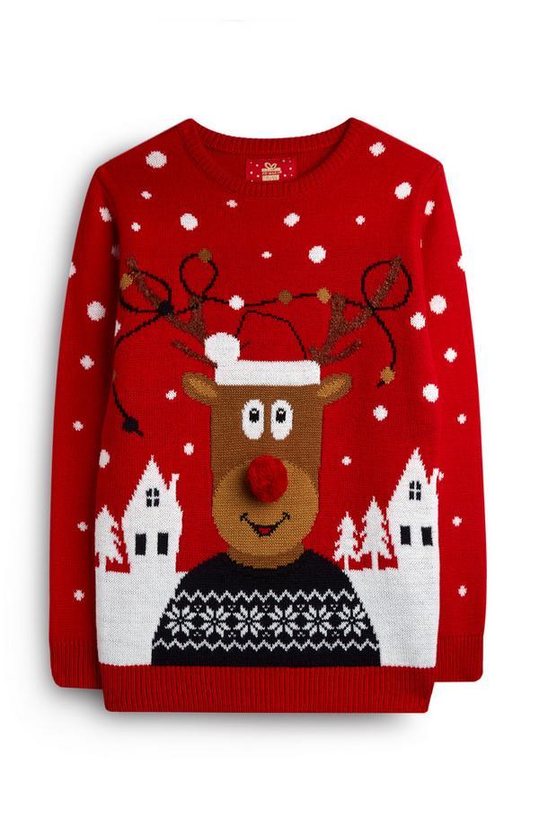 Rode kersttrui met Rudolf voor oudere jongens
