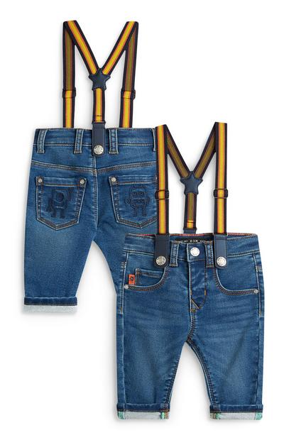 Stacey Solomon Baby Boy Denim Jeans With Yellow Suspenders