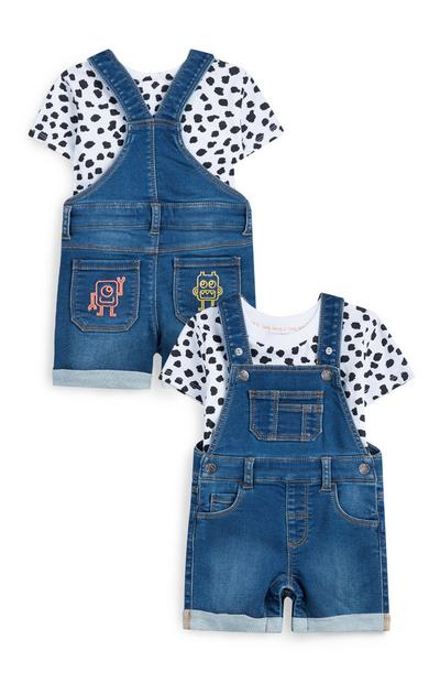 Stacey Solomon Baby Girl Denim Overalls With Polka Dot T-Shirt
