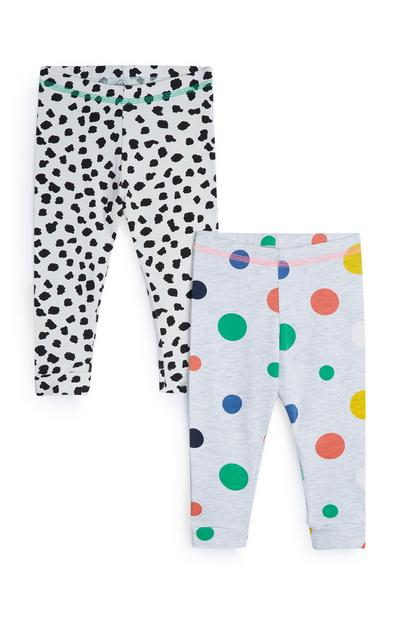 Stacey Solomon Baby Girl Grey Spotted Leggings 2Pk