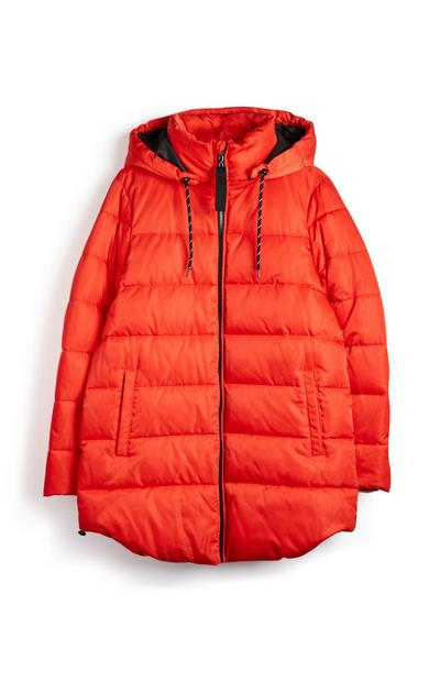 Red Mid Length Padded Coat