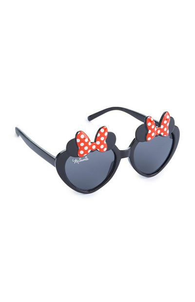 Younger Girl Black Minnie Mouse Heart Shaped Sunglasses
