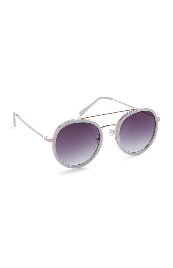 Purple Ombre Brow Bar Round Sunglasses