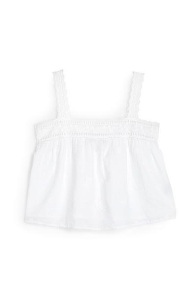 White Dobby Lace Trim Cami