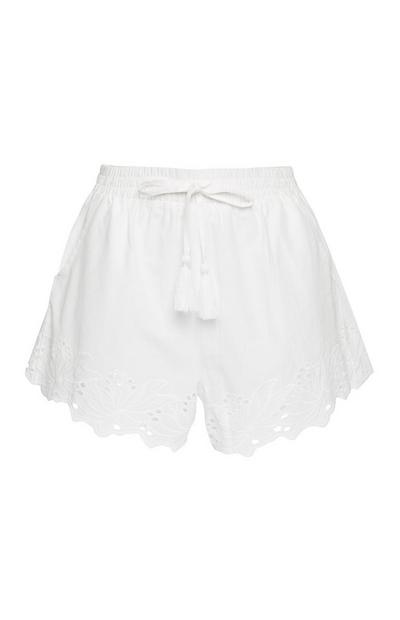 White Shifley Embroidered Shorts