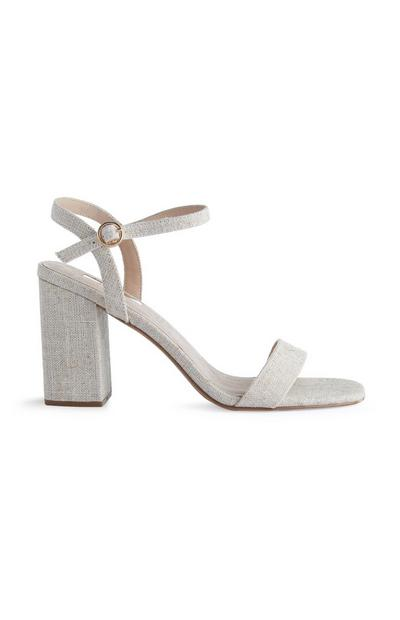 Natural Linen Strappy Heels